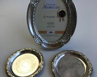 Silver Plated small plates and silver wooden frame
