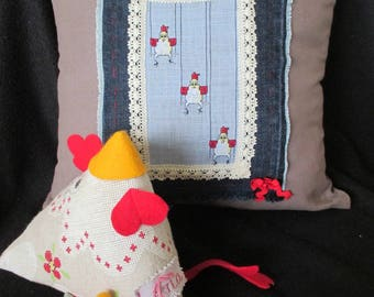 """Decorative pillow """"spring ahead - hens sway!"""""""