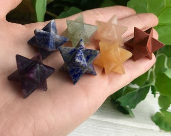 7 Chakra Crystal Merkaba Star Set ! Sacred Geometry !