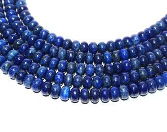 "Natural Gemstone Bead Lapis Lazuli 12mm Smooth Rondelles, Natural Lapis Rondelles, 12mm Smooth Lapis Lazuli Bead Strand 16"" Drilled Beads"