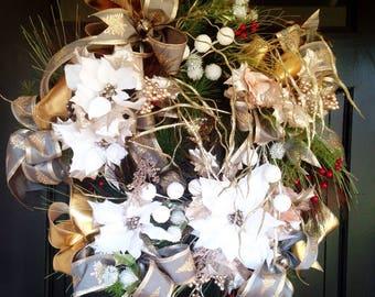 Christmas white Poinsettia wreath