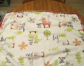 Fleece Baby Blanketwith cute little LLamas