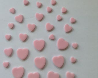 30 Edible Sugar Paste Fondant Heart Cake Toppers