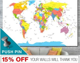 World Map, World Map Wall Art, Push Pin World Map, World Map Push Pin, Word Map Canvas, World Map Print,  PushPin World Map, Map Canvas