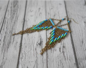 Green and blue earrings.