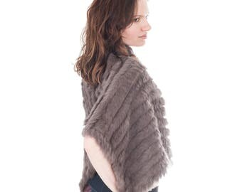 Sumptuous Women's Handmade Rabbit Fur Shawl | Cape | Poncho | Scarf | Light Mocha Brown | Exquisitely Soft | Fantastic Gift |