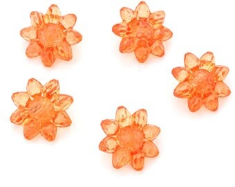 5 buttons polyester flower translucent effect molded orange 22mm diameter