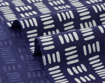 Japanese cotton fabric soft geometric grey background Navy x50cm