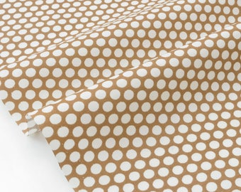 Silky cotton Japanese fabric fluid gometrique polka dot white on cafe au lait x 50cm