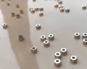 Spacer Beads, Brass, Nickel Free, Rondelle, Platinum Color, about 4mm in diameter, 1.9mm thick, hole: 1.2mm