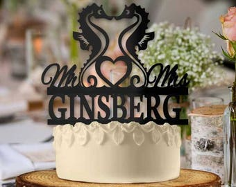 Personalized Seahorse Wedding Cake Topper