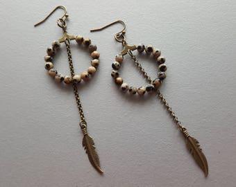 Hoop Earrings. Jasper Earrings. Beaded Hoop Earrings. Bronze Earrings. Gemstone Earrings. Boho Earrings. Bohemian Earrings. Gemstone Jewelry