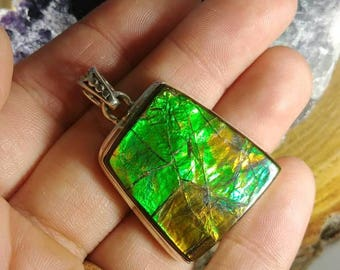 High Quality Ammolite Pendant / Loaded with color, green, yellow, blue, purple Ammolite necklace / Flashy Ammolite Statement Necklace