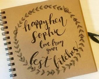 Custom hen party scrapbook / wedding guest book, hand drawn, personalised, hen do