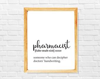 Funny pharmacist gift, funny pharmacist definition print, Pharmacist print, Co-worker print, Sarcastic work print, Gift idea for pharmacist