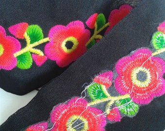 Pink  Flower Borders , Hand Embroidered Hmong Fabric, Hmong Fabric Hill Tribe, Thai Hill Tribe, Hmong Textile, Hill Tribe Handmade.