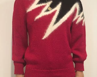 Vintage pink wool/angora sweater with puffed sleeves and shoulder detail