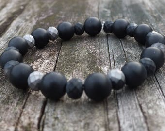 Black Onyx Bracelet | Mens Bracelet | Womens Bracelet | Beaded Bracelet | Gemstone Bracelet | Onyx Jewelry | Healing Bracelet |Stone Jewelry