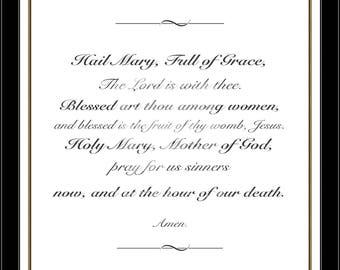 Hail Mary, Prayer Print, Religious Wall Art, Catholic Print, Confirmation Gift, Baptism Gift, Wedding Gift