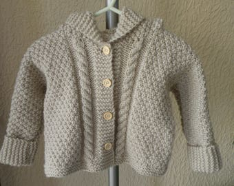 6/9 months hand knitted jacket or coat