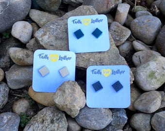 Soulful Squares leather stud earrings