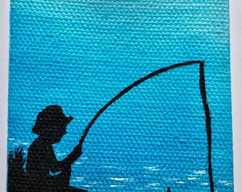 Boy Fishing Silhouette Painting, Blue Background
