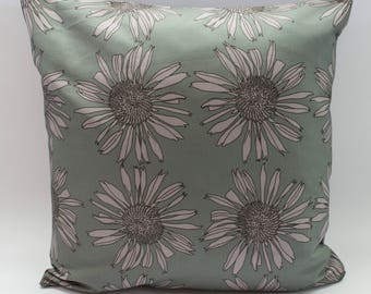 Modern Floral Cushion Cover Digitally Printed in Echinacea Minty Pink Pattern Made from 100% Cotton