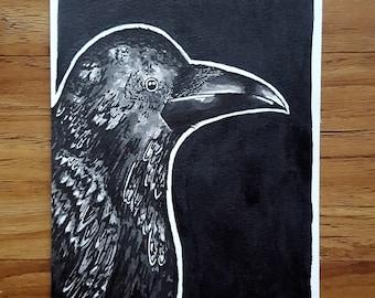 "Caw - Original 5x7"" Ink Illustration"