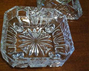 Vintage Candy Dish-American Brilliant Glass-Hobstar Finial-Star of David Design-Square Glass Candy Dish-American Pressed Glass-Wheel Etched