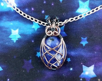 Sodalite Pendant-Wire Wrapped Jewelry-Wire Woven-Wire Woven Pendant-Coil and Thread