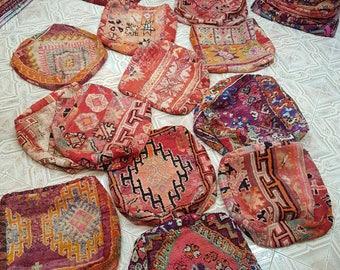 Moroccan poufs, vintage carpet hassocks, moroccan hassocks, carpet poufs, beni mguild poufs, beni ourain poufs