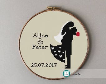 Wedding cross stitch  pattern customizable, modern pattern, wedding anniversary PDF, DIY ** instant download**
