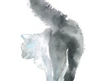 Print cat, watercolor, download, black cat, art cat, digital artwork, printable picture, cat watercolor,  decor, blue,gray,minimalism,modern