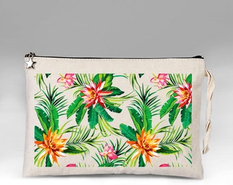 Tropical Make Up Bag, Floral Makeup Bag, Makeup Bag, Bridesmaid Gift, Summer Makeup Bag, Cosmetic Bag, Makeup Organizer, Gift for Her, Bag