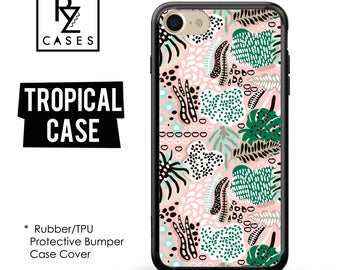 Tropical Phone Case, Leaves Phone Case, Geometric Case, Summer, iPhone 7, Gift for Her, iPhone 7 Plus, iPhone 6S, Rubber, Bumper