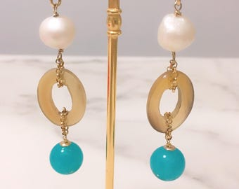 Ethnic silver pendant earrings with horn and angel. Blue earrings. Pearl earrings. Christmas gift. Boucles of Oreilles. Chanel