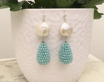 Turquoise earrings. Turquoise drops. Chanel pendants. Pearl earrings. Blue Earrings. Long earrings. Stone Sleeping Beauty Turquoise.
