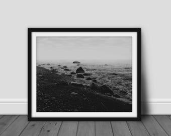 Black and White Sea Print, Beach Photography, Ocean Wall Art, Wave Print, Digital Download Printable Art, Nature Photography, Dark, Grainy