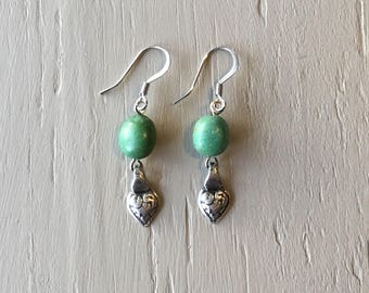 Green bead earrings, heart charm earrings, dangle earrings, unique earrings, boho