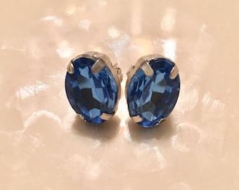 Blue Oval Stud Earrings 10 x 14mm