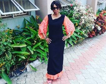 Anastasia Faux  Leather Kimono Sleeves Maxi Dress- Black And Orange