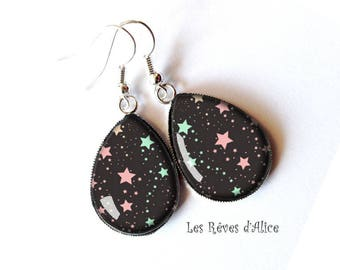 lime drops earrings * pink and green stars * patterns celestial fairy pink, green, black, white