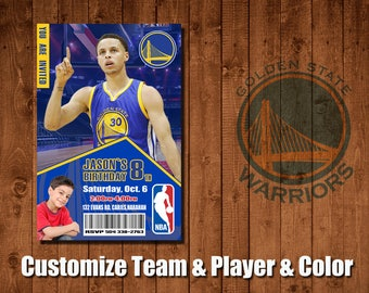 Stephen Curry boy birthday invitations, Warriors sports party favors,8th birthday invitation,nba basketball party theme,baby shower invite