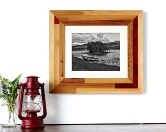 Natural + Red Reclaimed Wood Inlay Frame with Wooden Matting (MED) - rustic frames, rustic wooden frames, reclaimed wood frame, wood frame
