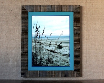 XL Rustic Wood Inlay Frame with ORIGINAL Teal Wooden Matting 18x24 - rustic frame, wooden frame, wooden mat frame, wood matting frame