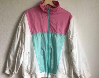 Womens Vintage Hipster Jacket Windbreaker  Lightweight Parka Oversized Sports Jacket Large to Extra Large Size