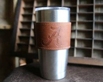 The Officially Licensed Alabama Rocket City Leather Drink Cooler Wrap with Handle – for 20oz Yeti Rambler Tumbler