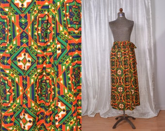 PSYCHEDELIC MAXI SKIRT//Geometric Pattern Hand-Sewn//1960s Boho Hippie Groovy Summer of Love//Women's Medium/Large