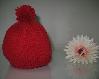 Red newborn baby hat, baby girl hat, baby boy hat, baby cap