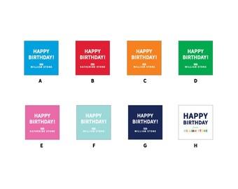 "40 2"" Square Custom Birthday Gift Tag Stickers"